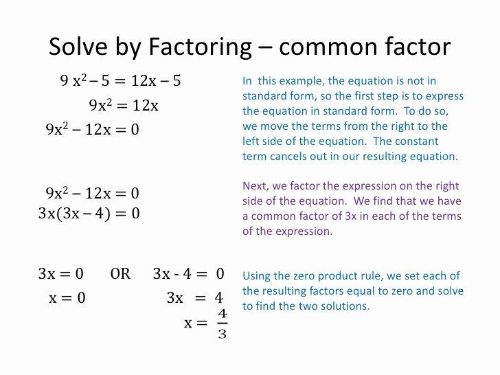Solve Quadratics by Factoring Worksheet Lovely solving Quadratic Equations by Factoring