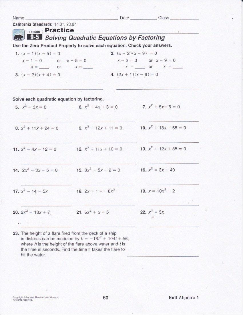 Solve Quadratics by Factoring Worksheet Unique solving Equations by Factoring Worksheet