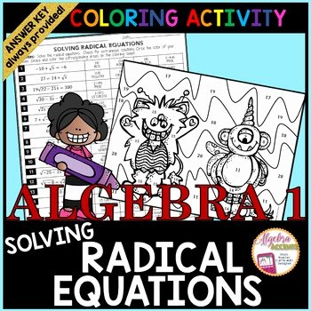 Solve Radical Equations Worksheet Beautiful solving Radical Equations Coloring Activity by Algebra