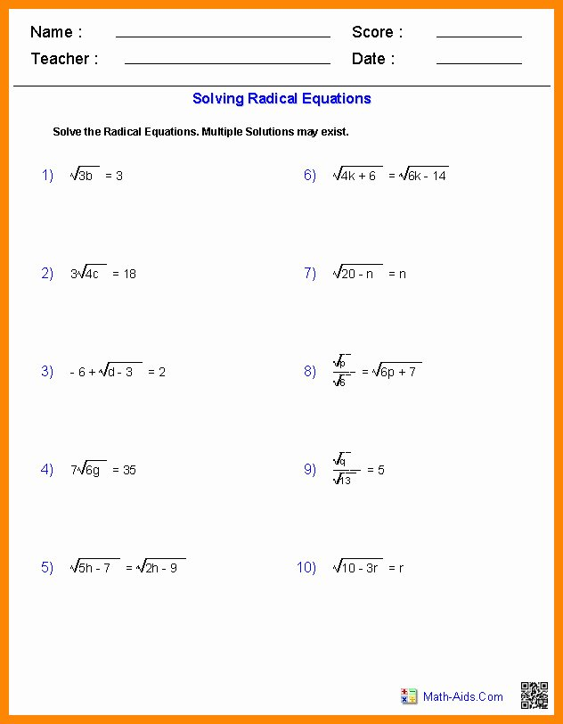 Solve Radical Equations Worksheet Beautiful solving Radical Equations Worksheet