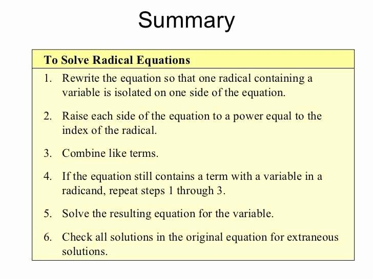 Solve Radical Equations Worksheet Lovely 25 Simplifying Radicals Worksheet Algebra 2