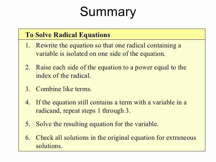 Solve Radical Equations Worksheet Lovely 25 Simplifying Radicals Worksheet Algebra 2