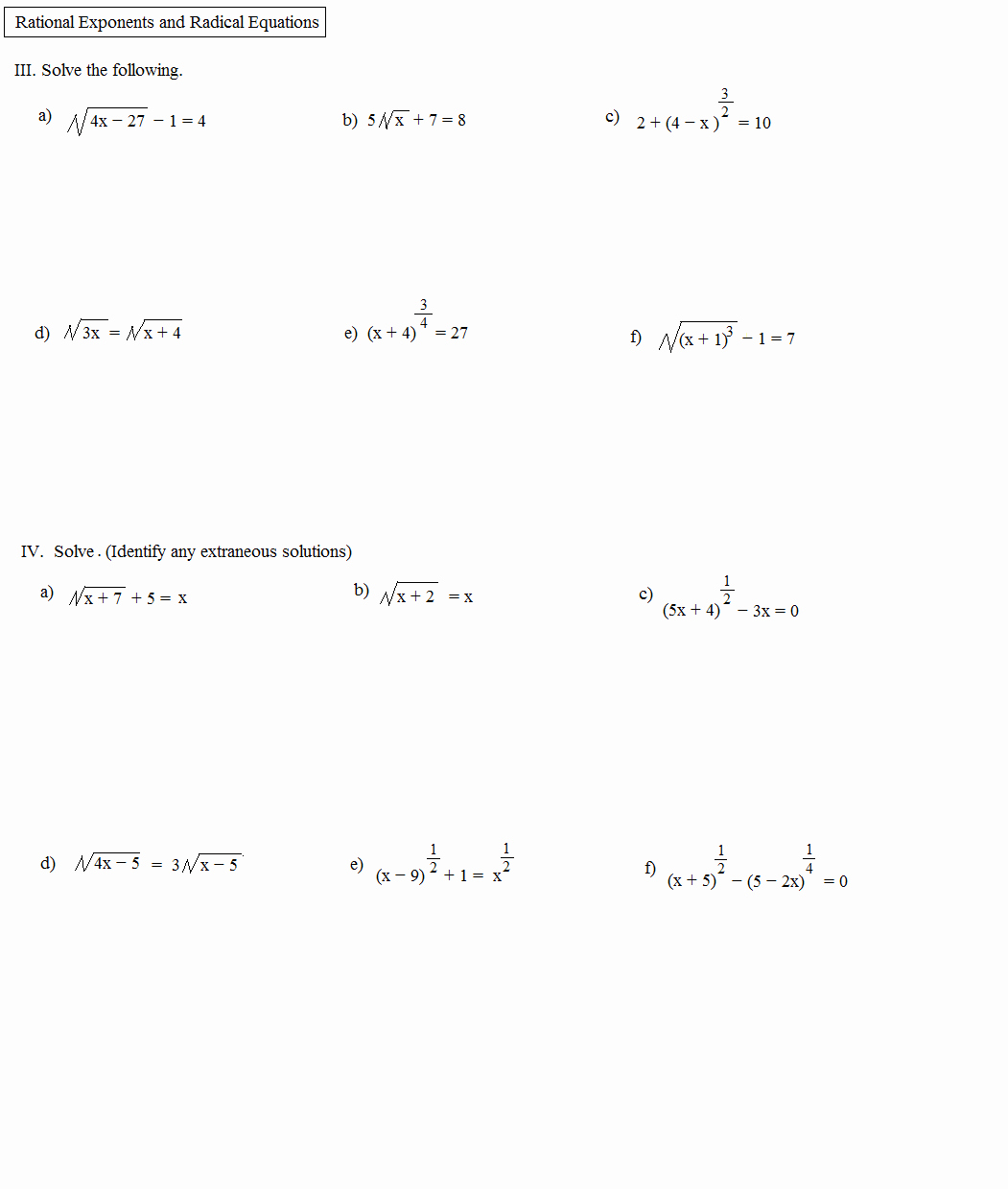 Solve Radical Equations Worksheet New Math Plane Rational Exponents and Radical Equations