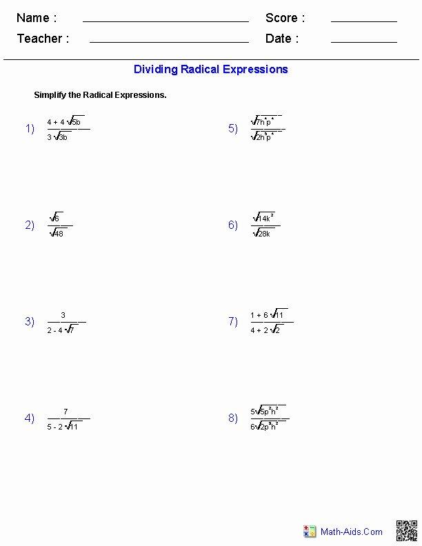 Solve Radical Equations Worksheet New solving Radical Equations Worksheet