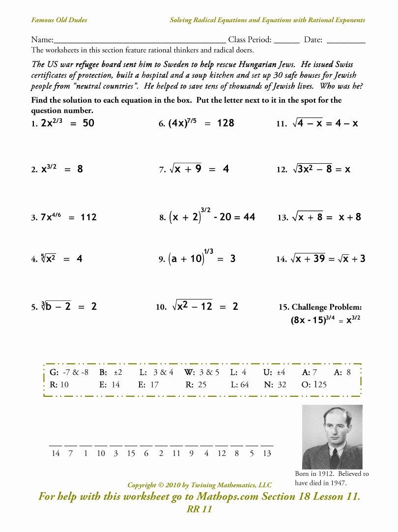 Solve Radical Equations Worksheet Unique Alg 2 Homework assignments Semester 2