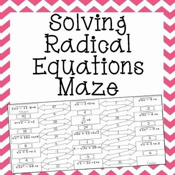 Solve Radical Equations Worksheet Unique Radical Equations Maze Advanced School