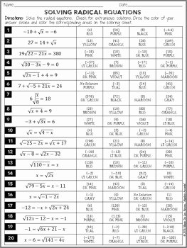 Solve Radical Equations Worksheet Unique solving Radical Equations Coloring Activity by Algebra