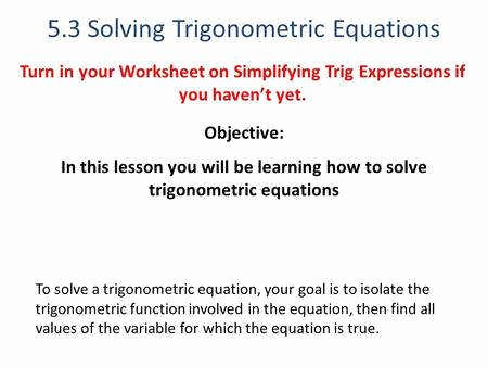 Solve Trig Equations Worksheet Elegant solving Trigonometric Equations Worksheet