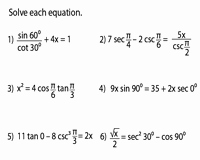 Solve Trig Equations Worksheet Inspirational solving Trigonometric Equations Worksheets