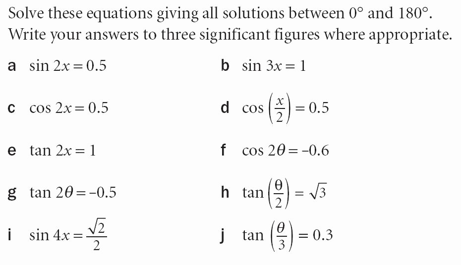 Solve Trig Equations Worksheet Lovely Trigonometry