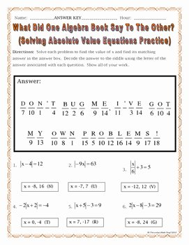 Solving Absolute Value Equations Worksheet Awesome solving Absolute Value Equations Practice Riddle Worksheet