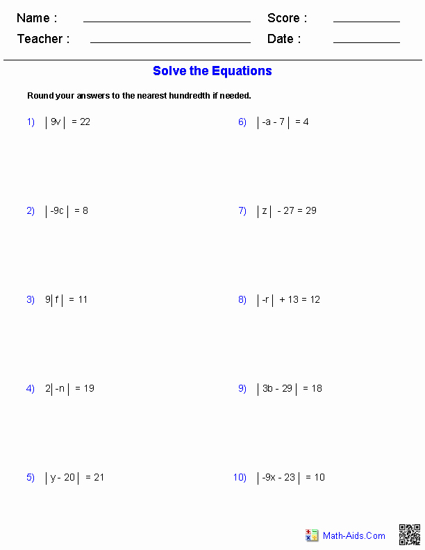 Solving Absolute Value Equations Worksheet Best Of Algebra 1 Worksheets