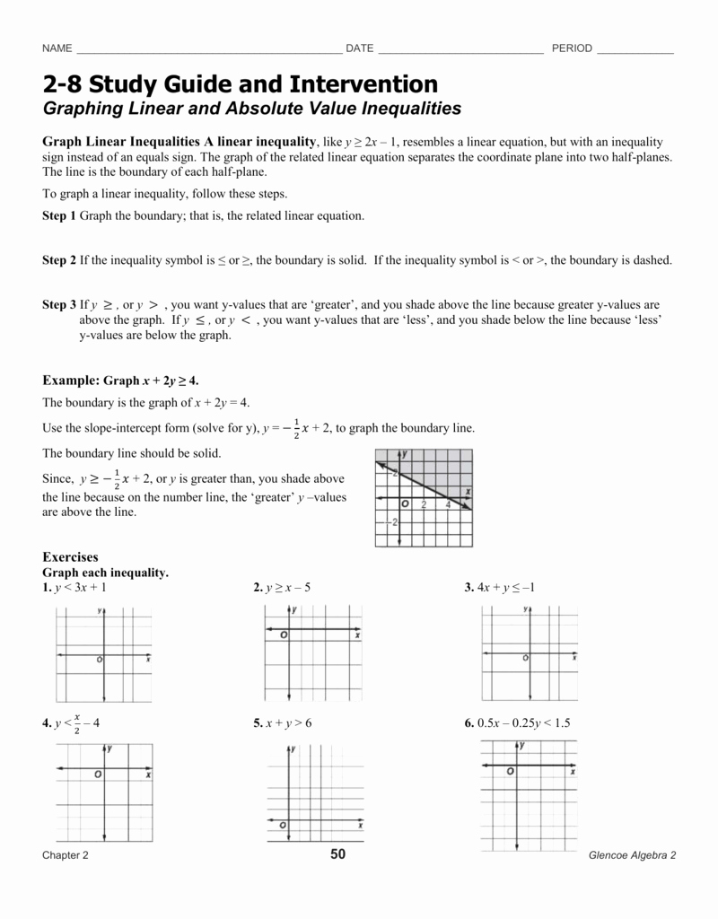 Solving Absolute Value Equations Worksheet Best Of Graphing Linear Equations Worksheet Glencoe Algebra 1