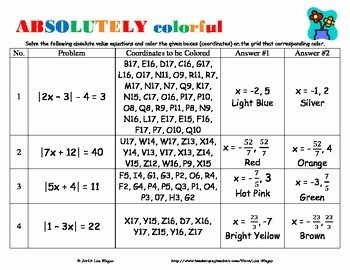 Solving Absolute Value Equations Worksheet Inspirational Absolute Value Equations solving Equations Activity Fun
