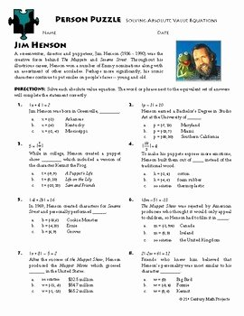 Solving Absolute Value Equations Worksheet Inspirational Person Puzzle Absolute Value Equations Jim Henson