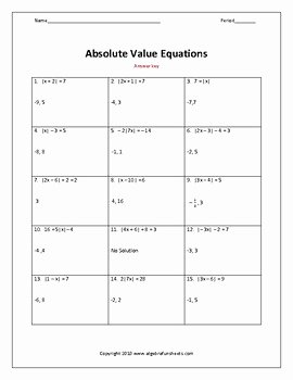 Solving Absolute Value Equations Worksheet Lovely solving Absolute Value Equations Worksheet by Algebra