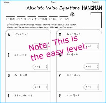 Solving Absolute Value Equations Worksheet Luxury Absolute Value Equations Hangman by Algebra Simplified