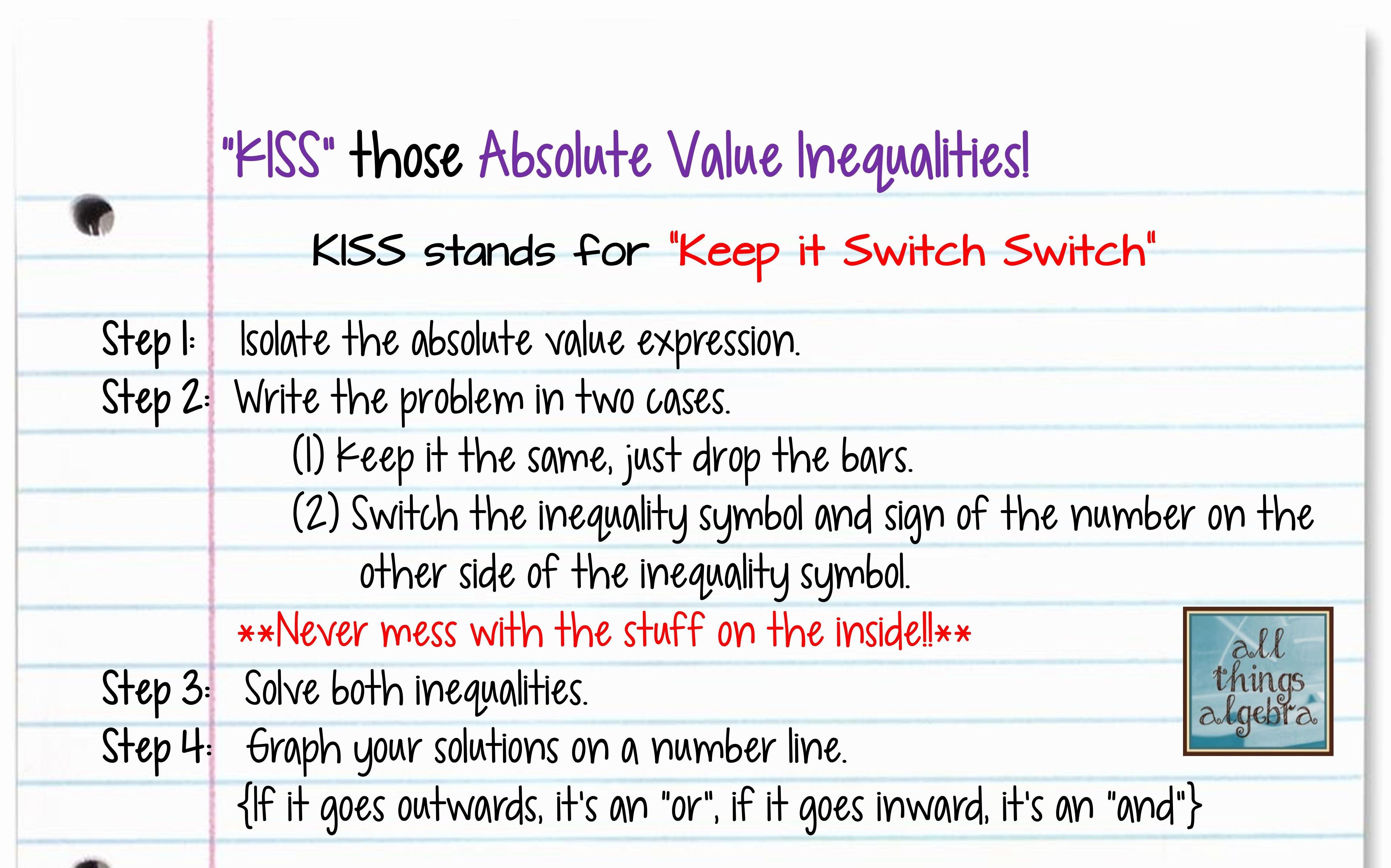 Solving Absolute Value Inequalities Worksheet Beautiful Kiss Method for solving Absolute Value Inequalities