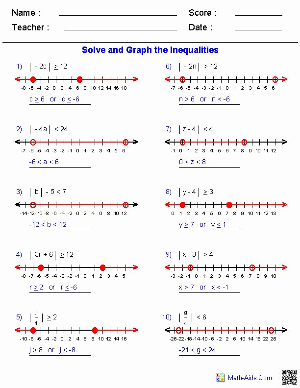 Solving Absolute Value Inequalities Worksheet Best Of solving and Graphing Inequalities Worksheet