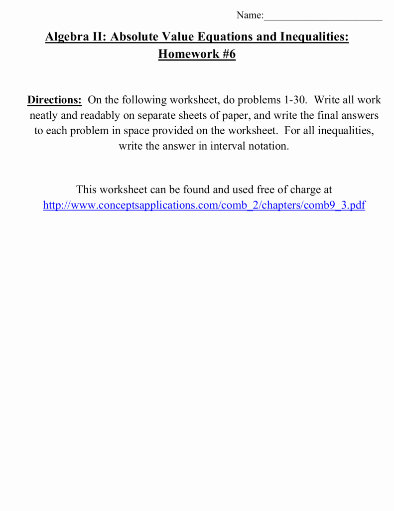 Solving Absolute Value Inequalities Worksheet Elegant Algebra Ii Absolute Value Equations and Inequalities