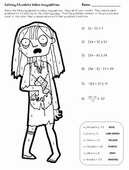 Solving Absolute Value Inequalities Worksheet Lovely Zombie Color by Number solving Absolute Value