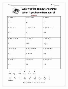 Solving Absolute Value Inequalities Worksheet Unique solving Absolute Value Equations Worksheet by Algebra