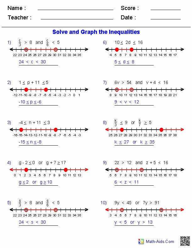 Solving Compound Inequalities Worksheet Elegant Pound Inequalities Worksheet