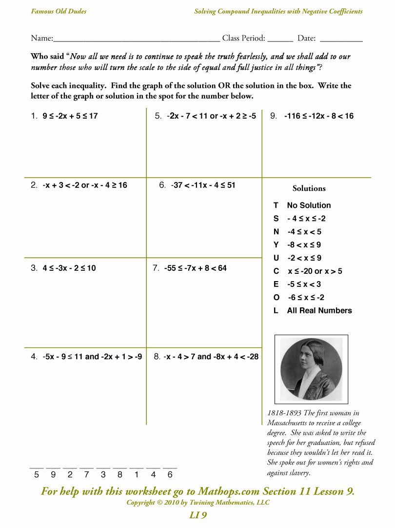 Solving Compound Inequalities Worksheet Fresh Li 9 solving Pound Inequalities with Negative