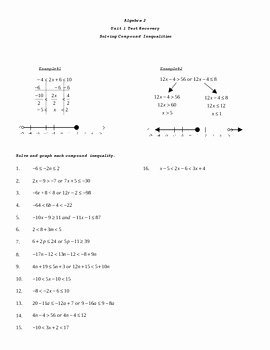 Solving Compound Inequalities Worksheet Luxury solving Pound Inequalities Test Recovery Worksheet by