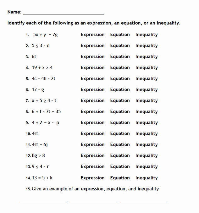 Solving Equations and Inequalities Worksheet Beautiful Equations and Expressions Worksheets Davezan solving