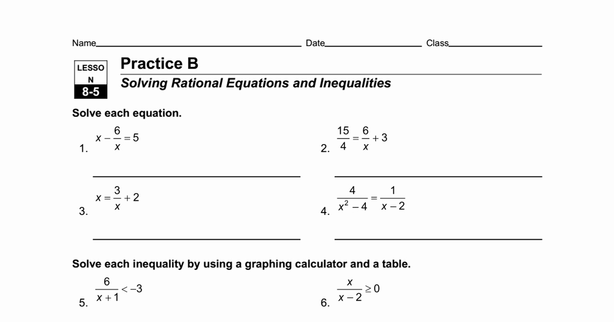 Solving Equations and Inequalities Worksheet Lovely Worksheet 8 5 A solving Rational Equations and