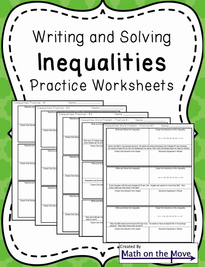 Solving Equations and Inequalities Worksheet Luxury Inequalities Notes and Practice Includes Word Problems