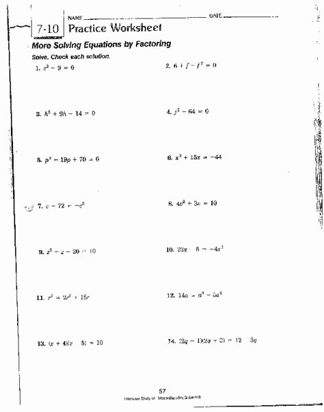 Solving Equations by Factoring Worksheet Awesome More solving Equations by Factoring Worksheet for 8th