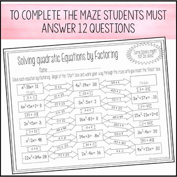 Solving Equations by Factoring Worksheet Elegant solving Quadratic Equations by Factoring Maze Worksheet by