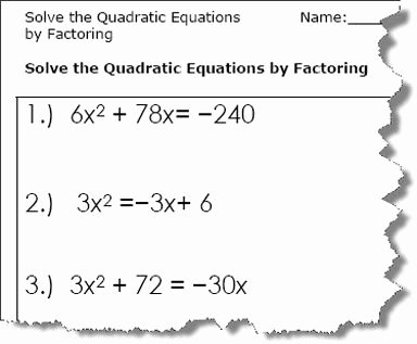 Solving Equations by Factoring Worksheet Inspirational Quadratic Equation Worksheets Printable Pdf Download