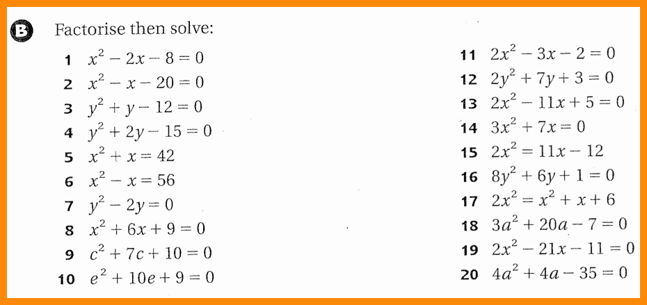 Solving Equations by Factoring Worksheet Inspirational solving Quadratic Equations by Factoring Worksheet