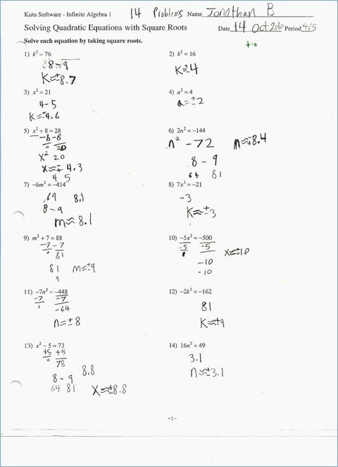 Solving Equations by Factoring Worksheet New solving Quadratic Equations by Factoring Worksheet Algebra