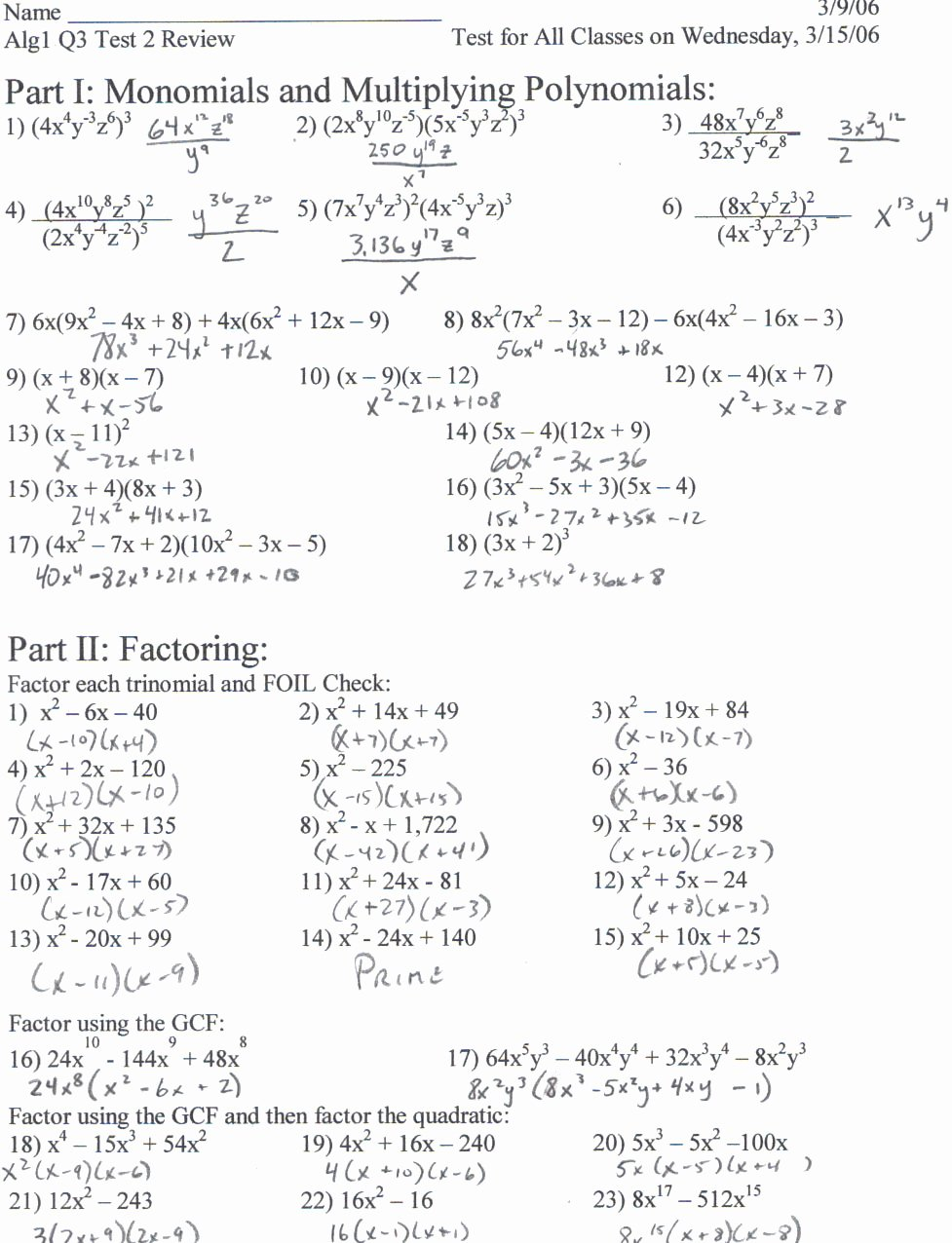 Solving Equations Review Worksheet Awesome solving Quadratic Equations by Factoring Worksheet Pdf
