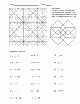 Solving Equations Review Worksheet Beautiful solving Single Step Equations Color Worksheet