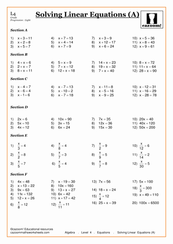 Solving Equations Review Worksheet Best Of solving Linear Equations by Cazoommaths Teaching