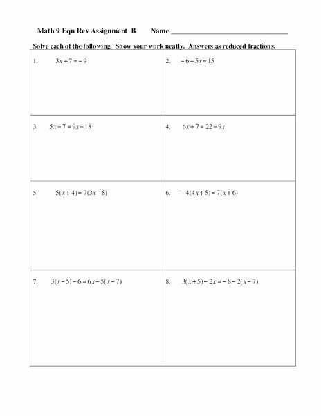 Solving Equations Review Worksheet Inspirational Equation solving Review B Worksheet for 7th 10th Grade