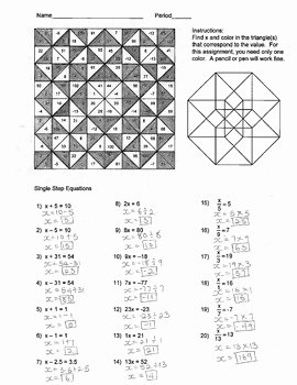 Solving Equations Review Worksheet Inspirational solving Single Step Equations Color Worksheet by Aric