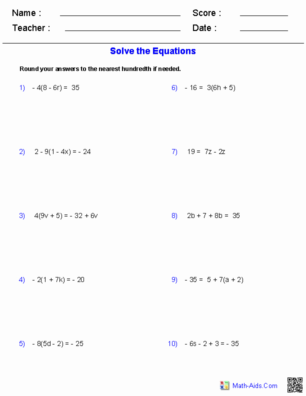 Solving Equations Review Worksheet Lovely Multiple Step Equations Worksheets Containing Integers