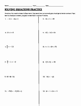 Solving Equations Review Worksheet Lovely solving 1 2 and Multi Step Equations Practice by Christy