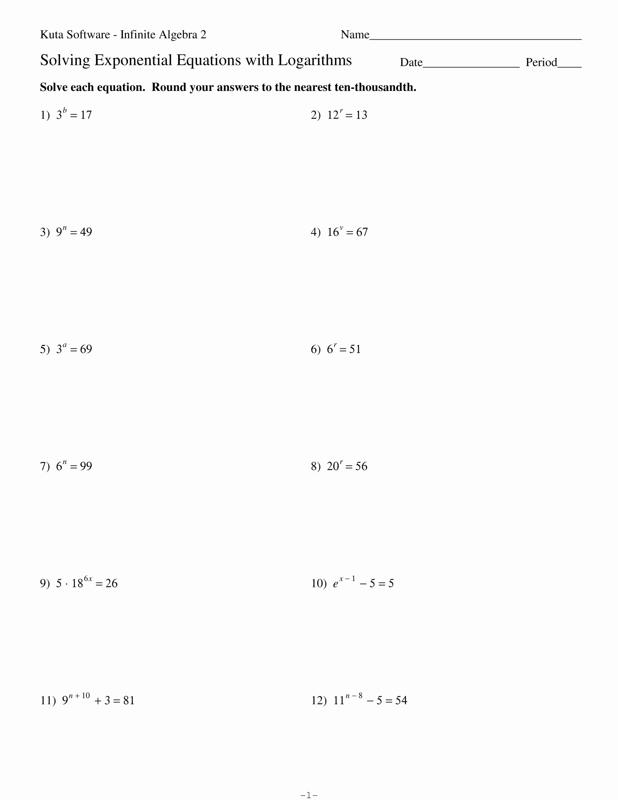 Solving Equations Review Worksheet Lovely solving Exponential Equations Answer Key Tessshebaylo