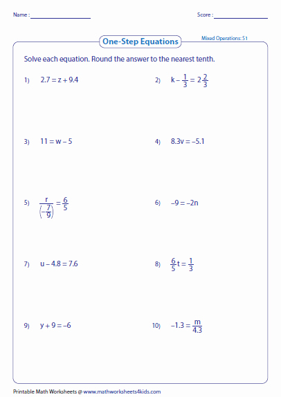 Solving Equations with Fractions Worksheet Awesome solve One Step Equation Worksheets