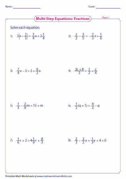 Solving Equations with Fractions Worksheet Best Of Multi Step Equation Worksheets