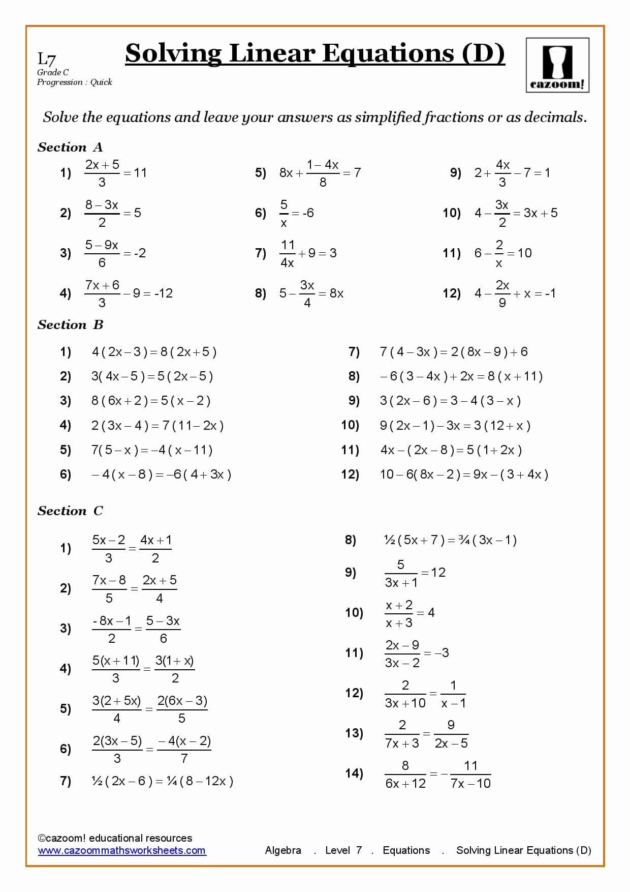 Solving Equations with Fractions Worksheet Best Of solving Linear Equations