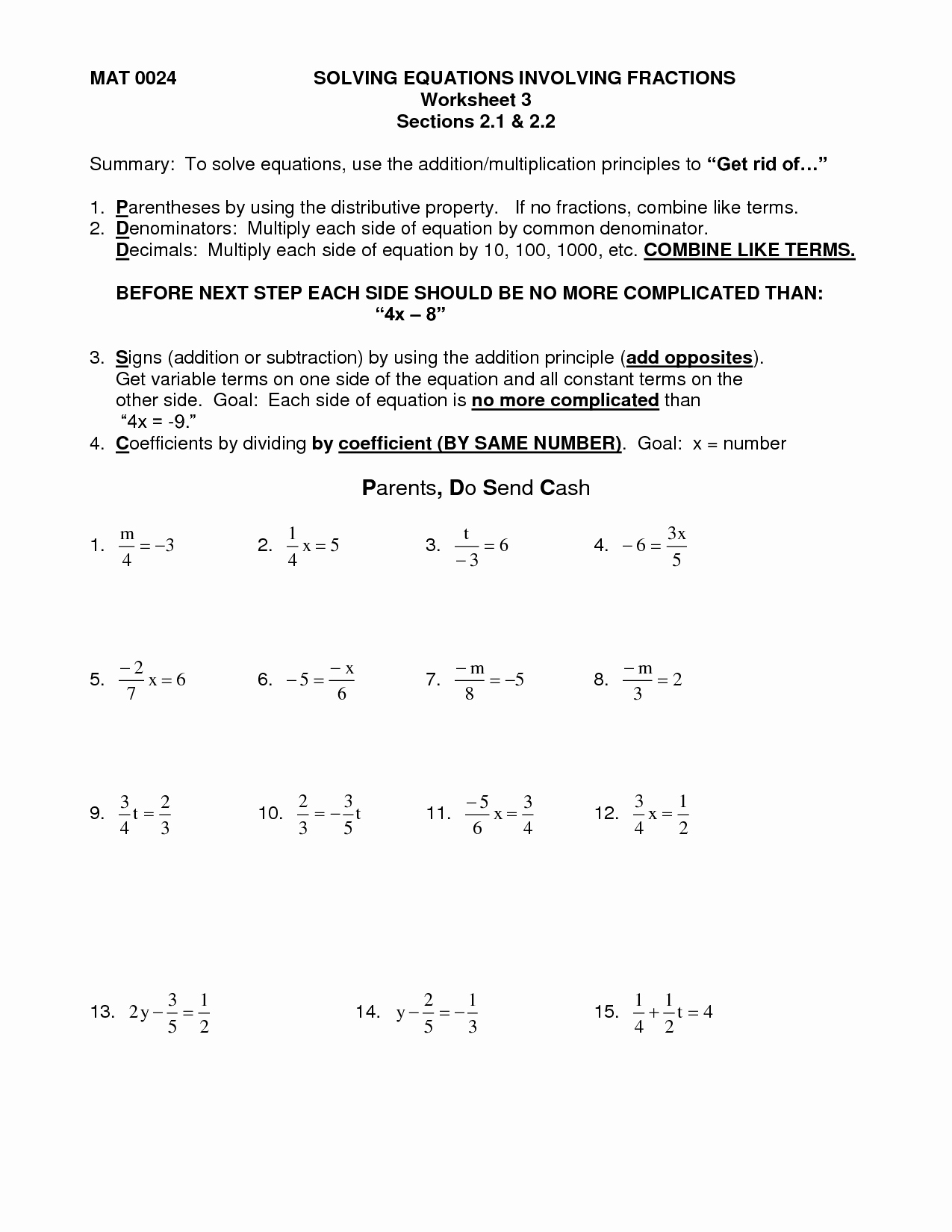 Solving Equations with Fractions Worksheet Fresh 14 Best Of Multi Step Equations Worksheets with