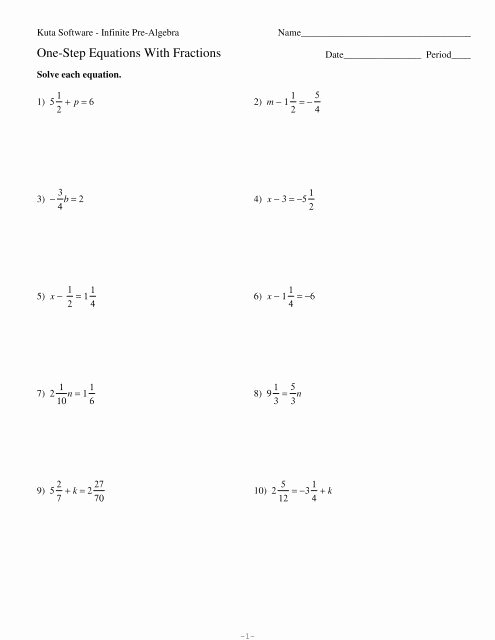 Solving Equations with Fractions Worksheet New solving Multistep Equations with Fractions Kuta Tessshebaylo